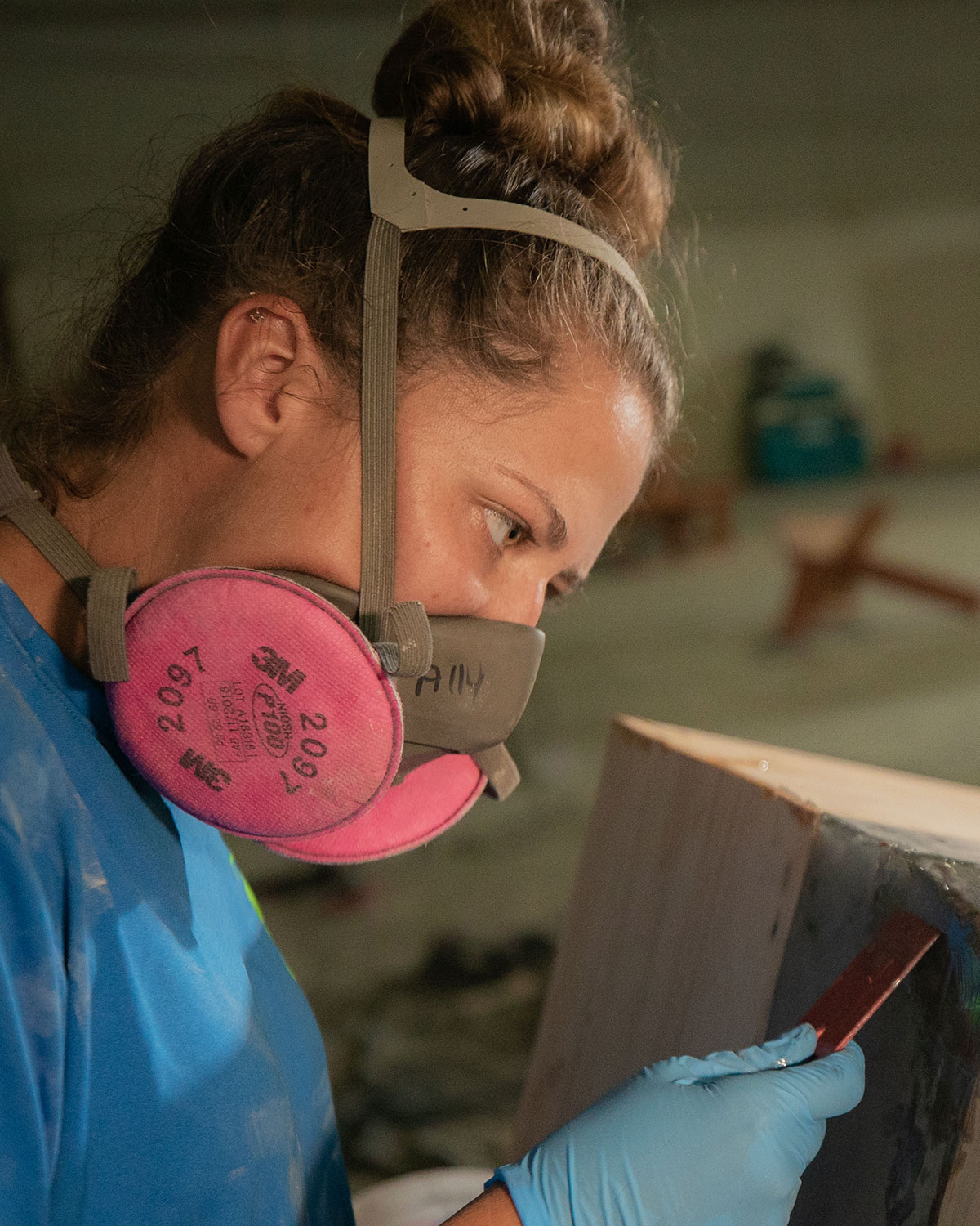 Photo: WVFPC Artisan Ally Reynolds works on a resin coffee table