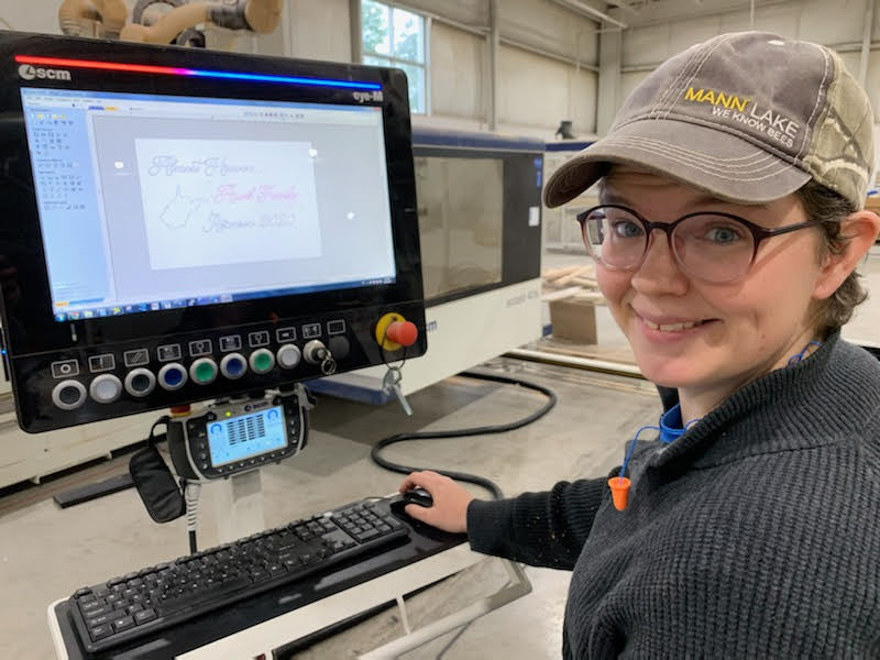 Liz Howard, WVFPC COO and Lead Designer, creates an image on a computer to be carved with a CNC machine.
