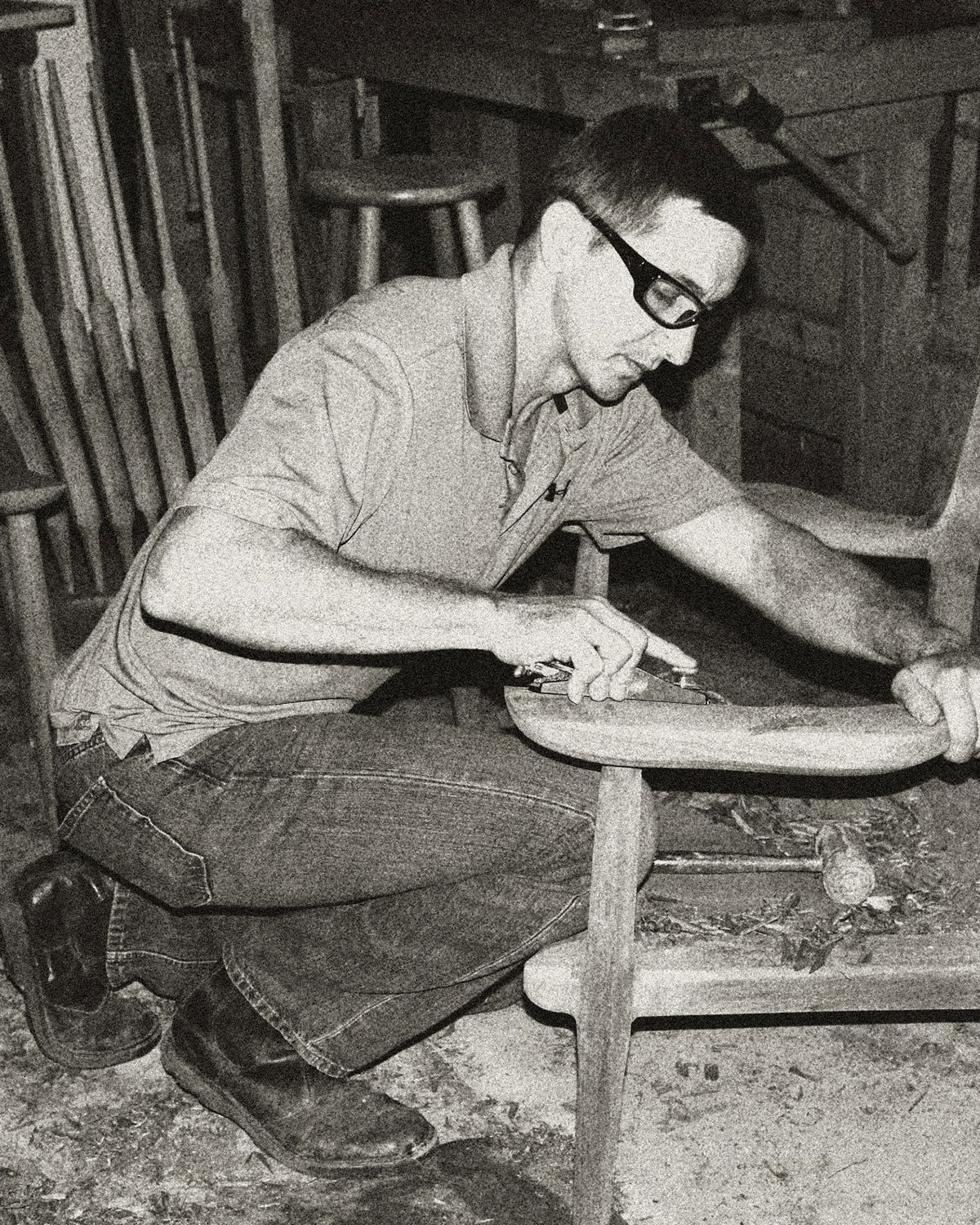 Photo: WVFPC artisan Phil Knuckles working on a wooden chair