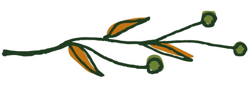 Graphic: Green branch with orange leaves and green buds
