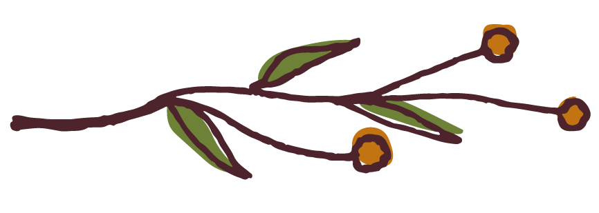 Graphic: Twig drawing with green leaves and orange buds