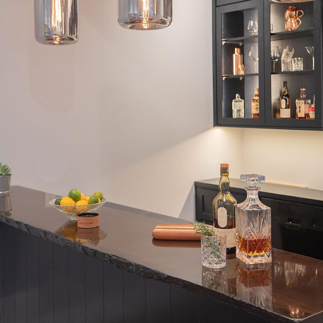 Photo: Custom-made bar with a raw edge