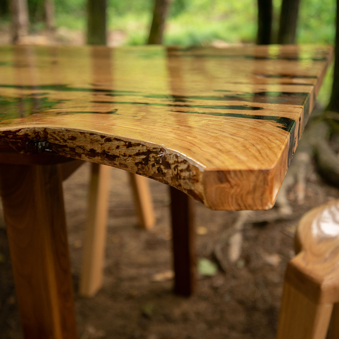 Photo: One-of-a-kind raw edge epoxy table